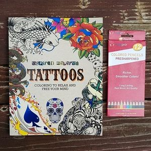 Tattoos Inspired Coloring Book & Pencils